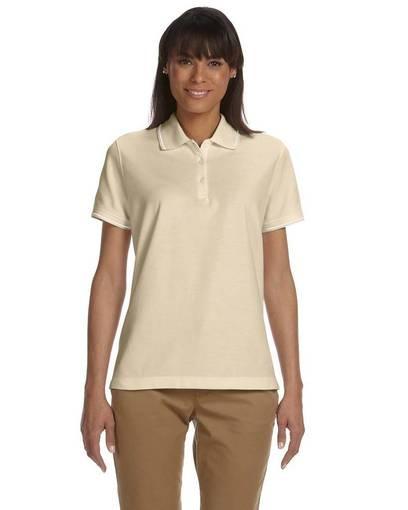 devon & jones d113w ladies' pima piqué short-sleeve tipped polo front image