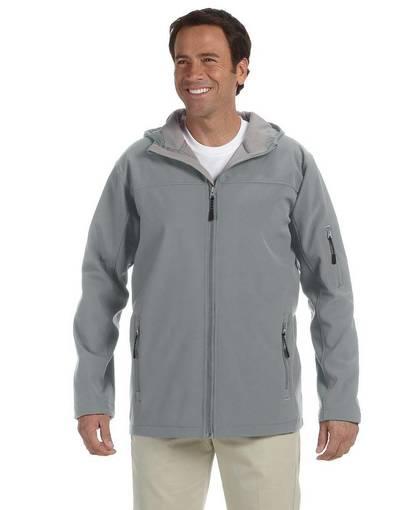 devon & jones d998 men's soft shell hooded jacket front image
