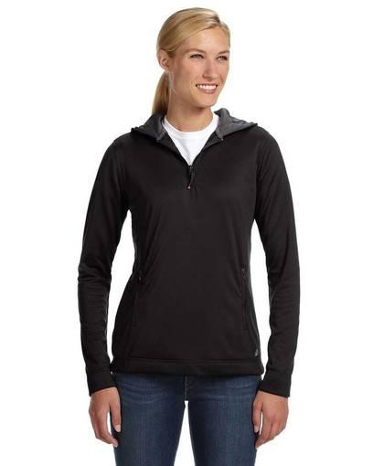 russell athletic fs8efx ladies' tech fleece quarter-zip pullover hood front image