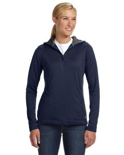 russell athletic fs8efx ladies' tech fleece quarter-zip pullover hood Front Fullsize