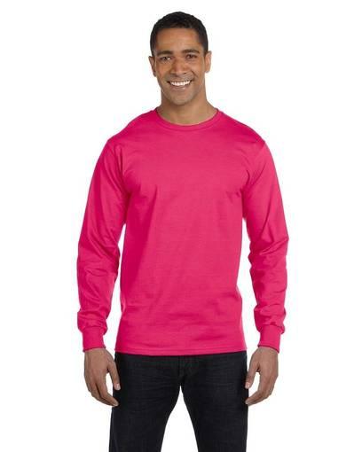 fruit of the loom hd6lr 6 oz., 100% cotton lofteez hd® long-sleeve t-shirt front image