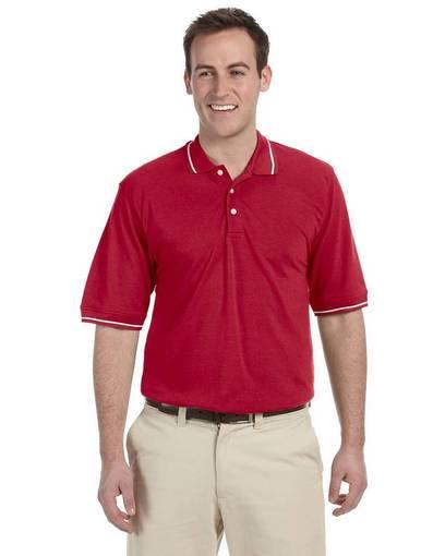 harriton m270 men's 5.6 oz. tipped easy blend™ polo Front Fullsize
