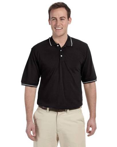 harriton m270 men's 5.6 oz. tipped easy blend™ polo front image