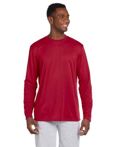 harriton m320l adult 4.2 oz. athletic sport long-sleeve t-shirt front image