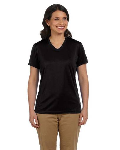 harriton m320w ladies' 4.2 oz. athletic sport t-shirt front image