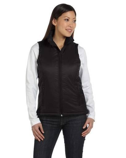 harriton m795w ladies' essential polyfill vest front image