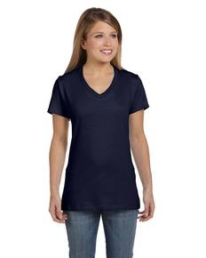 Hanes S04V Ladies' 4.5 oz., 100% Ringspun Cotton nano-T® V-Neck T-Shirt