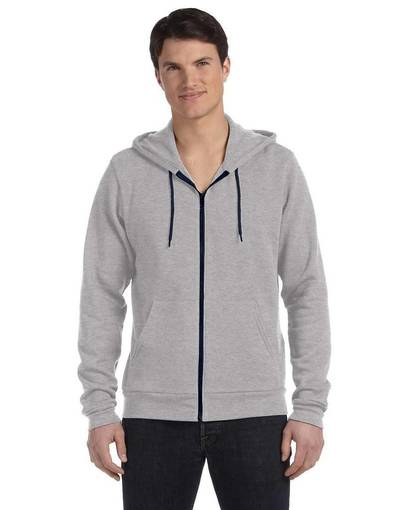 bella + canvas 3739 unisex poly-cotton sponge fleece full-zip hooded sweatshirt front image
