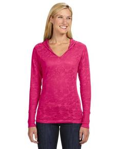 J America JA8254 Ladies' Jersey Burnout Hooded T-Shirt