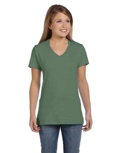 hanes s04v ladies' 4.5 oz., 100% ringspun cotton nano-t® v-neck t-shirt front image