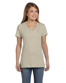 Hanes S04V Ladies' 4.5 oz., 100% Ringspun Cotton nano-T® V-Neck T-Shirt