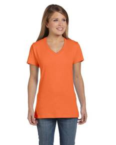 Hanes S04V Hanes S04V Ladies' 4.5 oz., 100% Ringspun Cotton nano-T® V-Neck T-Shirt